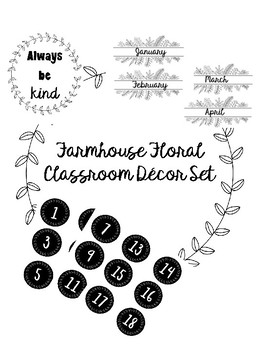 Farmhouse Floral Classroom Decor Set (Black and White)