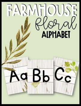 Farmhouse Floral Print Alphabet Posters