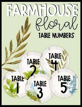 Editable Farmhouse Floral Table Numbers