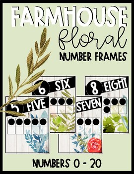 Farmhouse Floral Ten Frame Number Posters