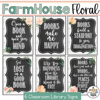 Farmhouse Floral and Shiplap Reading Signs