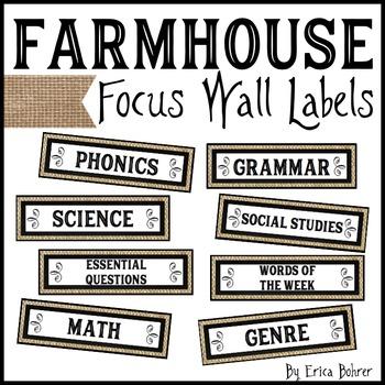Farmhouse Focus Wall Labels & Schedule Labels