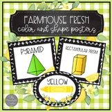 Farmhouse Fresh Lemon Theme Classroom Color and Shape Posters