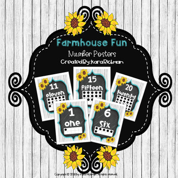 Farmhouse Fun: Number Posters 0-20