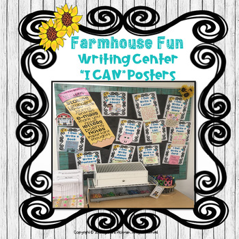 "Farmhouse Fun: Writing Center ""I CAN"" Posters and Templates"