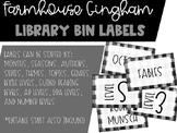 Farmhouse Gingham Library Bin Labels