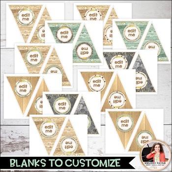 Farmhouse Glam Editable Banner/Bulletin Board Letters Kit