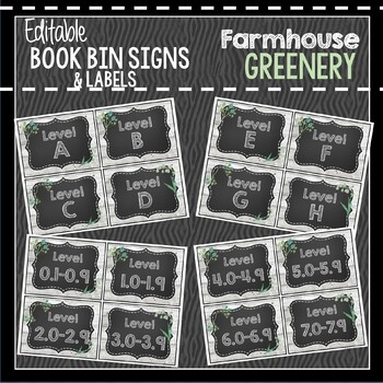 Farmhouse Greenery Book Bin & Book Basket Labels: Editable