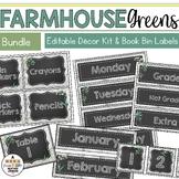 Farmhouse Greenery Classroom Decor & Book Bin Bundle