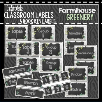 Farmhouse Greenery Classroom Decor & Book Bin Bundle