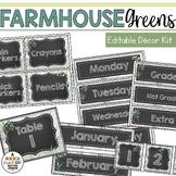 Farmhouse Greenery Classroom Decor: Editable Classroom Signs & Labels