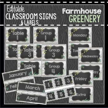 Farmhouse Greenery Classroom Decor: Editable Classroom Signs & Labels
