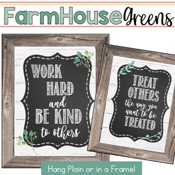 Farmhouse Greenery and Shiplap Classroom Signs