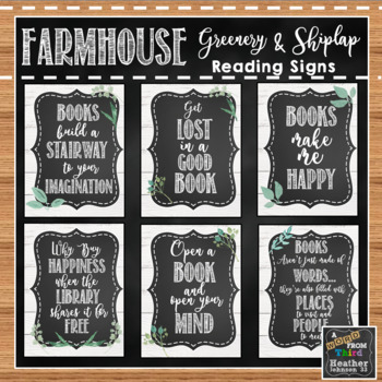 Farmhouse Greenery and Shiplap Reading Signs