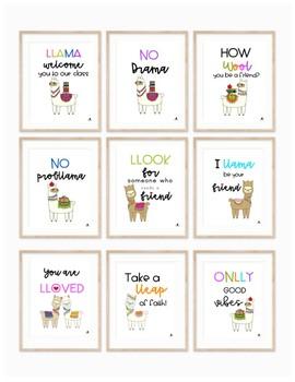 Llama Love Friendship & Kindness Decor Posters