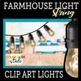 Farmhouse Industrial Edison String Lights Clipart