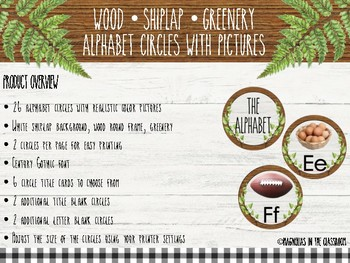 Farmhouse Inspired Shiplap/Wood/Greenery Alphabet Circles with Real Pictures
