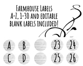 Farmhouse Labels A-Z, 1-30 and Blank EDITABLE Circles!
