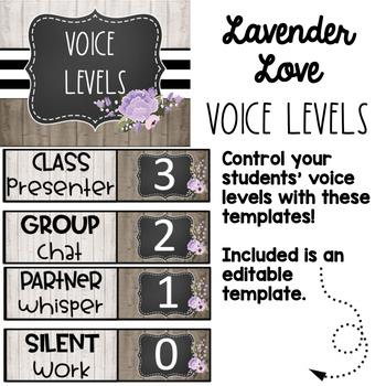 Farmhouse Lavender Love Voice Level Chart-Editable