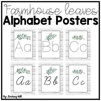 Farmhouse Leaves Alphabet Posters