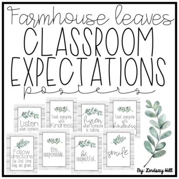 Farmhouse Leaves Classroom Expectations Posters