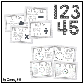 Farmhouse Leaves Math Posters