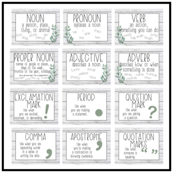 Farmhouse Leaves Punctuation & Parts of Speech Posters