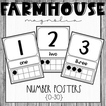 Farmhouse Magnolia Number Posters {0-30}