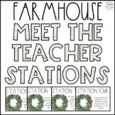 Farmhouse Meet the Teacher Stations {Editable}