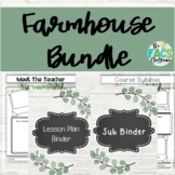 Farmhouse Meet the Teacher Syllabus Sub Binder Lesson Plan Template Bundle