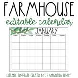 Farmhouse Monthly Calendar - EDITABLE