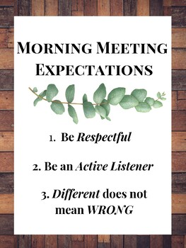Farmhouse Morning Meeting Expectations Poster