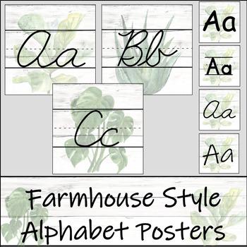 Farmhouse Plant Alphabet Posters with White Shiplap