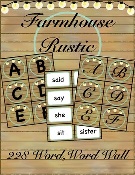 Farmhouse Rustic, 228 Word Card Word Wall
