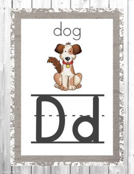 Rustic Farmhouse Alphabet Posters- Classroom Decor