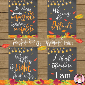 Farmhouse Rustic Chic Inspirational Quotes Autumn Chalkboard Posters