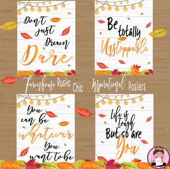 Farmhouse Rustic Chic Inspirational Quotes Autumn Posters
