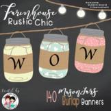 Farmhouse Classroom Decor Editable Banners - Burlap Mason Jars
