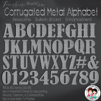Alphabet Letters and Numbers Corrugated Metal