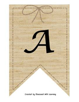 Editable Burlap Banners and Tassels
