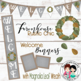 Farmhouse Rustic Chic Welcome Banner, Pennants, and More