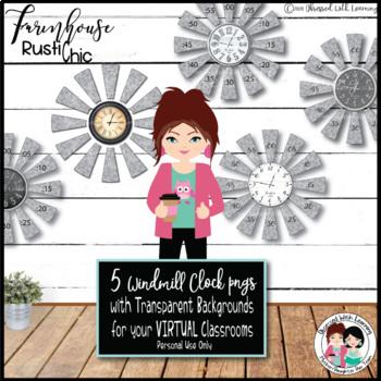 Farmhouse Rustic Chic Windmill Clock Bulletin Board Set
