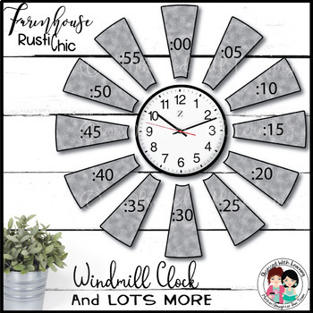 Farmhouse Classroom Windmill Clock EDITABLE | Bonus: PNGs for Bitmoji Classroom