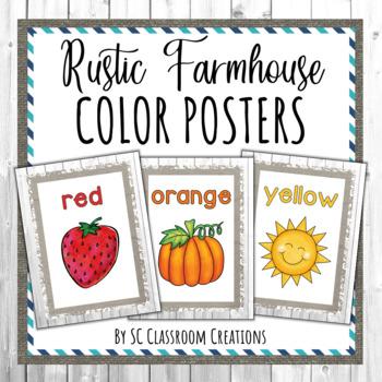 Rustic Farmhouse Color Posters- Classroom Decor