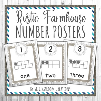 Rustic Farmhouse Number Posters- Classroom Decor
