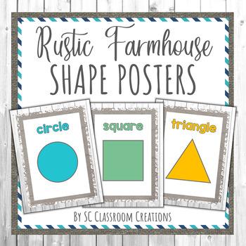 Rustic Farmhouse Shape Posters- Classroom Decor