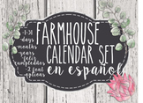Farmhouse SPANISH Printable Calendar Bulletin board Set