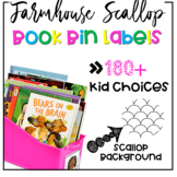 Farmhouse Scallop Book Bin Labels | Name Tags | Reading Labels {EDITABLE}