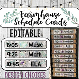 Farmhouse Schedule Cards with Times for Pocket Chart -EDITABLE-