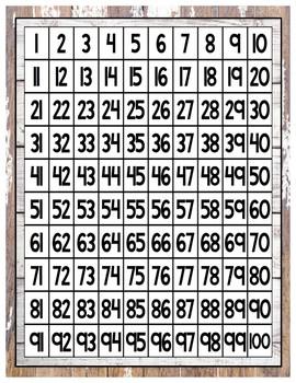 Farmhouse Shiplap Hundreds Chart
